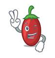 two finger goji berries character cartoon vector image