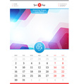 Wall Calendar 2016 May Template with Abstract vector image