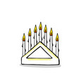 white christmas candelabrum with seven lit candles vector image