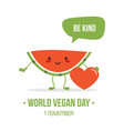 world vegan day cartoon vector image