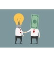 Handshake of businessmen with idea and money vector image