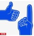 Set of Sports Fans holding Foam Fingers vector image