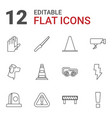 12 danger icons vector image vector image