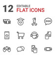 12 online icons vector image vector image