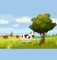 a rural cute landscape a beautiful view a farm vector image vector image