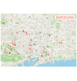 barcelona map - streets parks districts vector image