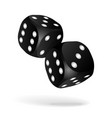 black dice with white pips on white background vector image vector image