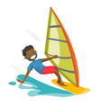 black man rushing on a windsurfing board vector image