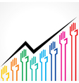 Business graph made by colorful hand icons vector image