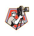 Cameraman Vintage Film Reel Camera Retro vector image vector image