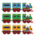 cartoon toy train with wagons set vector image