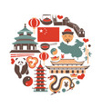 chinese national things collection in circle on vector image