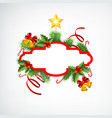 christmas wreath greeting template vector image