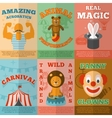 Circus flat icons composition poster vector image vector image