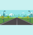 cityscape scene with road trees and sky vector image vector image