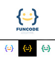 code bracket man logo - head smile man done vector image vector image