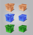 colorful open and closed boxes vector image vector image