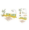cosy room flat furniture interior design vector image