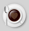 cup of coffee with heart top on grey background vector image vector image