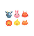 cute animal heads set funny faces cow bunny vector image vector image