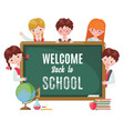cute kids with chalkboard and school supplies vector image vector image
