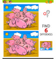 differences game with pigs animal characters vector image vector image