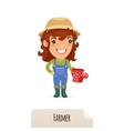 Female Farmer With a Watering Can vector image