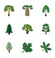 flat icon natural set of jungle park baobab and vector image