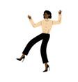 girl dancing raising her hands up cartoon vector image