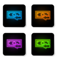 glowing neon cash back icon isolated on white vector image