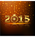 golden 2015 year greeting card presentation vector image vector image