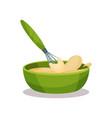green ceramic bowl full of freshly prepared dough vector image vector image