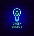 green energy neon label vector image