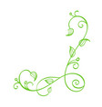 green hand drawn calligraphic corner vector image