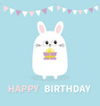 happy birthday white bunny rabbit holding gift vector image vector image