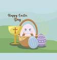 happy easter day card with cute rabbit and chalice vector image vector image