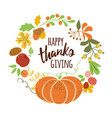 happy thanksgiving pumpkin wreath text for vector image vector image