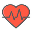 heartbeat filled outline icon medicine vector image vector image