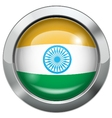 India flag metal button vector image vector image
