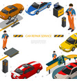 isometric car repair service template vector image vector image