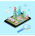 Isometric Mobile Navigation Tourism Industry vector image vector image
