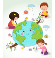 kids drawing earth vector image vector image