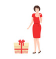lady in elegant red dress going to open box vector image vector image