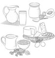 line art various dairy products vector image