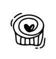 monoline cute muffin with heart valentines vector image vector image