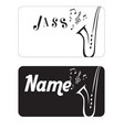 name card jazz saxophone black background i vector image