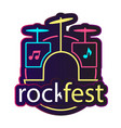 neon rock fest drum background image vector image vector image