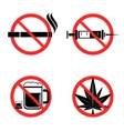 No Drugs Icons Set vector image