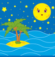 palm trees and a cartoon moon in the night sky vector image vector image
