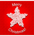 Red Christmas Star Snowflake Greeting Card vector image vector image